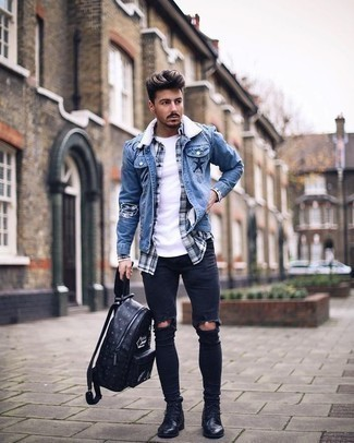 How To Wear a Long Sleeve Shirt With Skinny Jeans For Men: Infuse some fun into your day-to-day styling collection with a long sleeve shirt and skinny jeans. Throw black leather casual boots in the mix to avoid looking too casual.