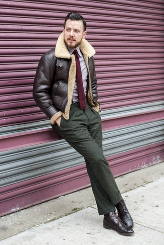 How to wear: dark brown shearling jacket, light violet long sleeve shirt, olive wool dress pants, dark brown leather brogue boots