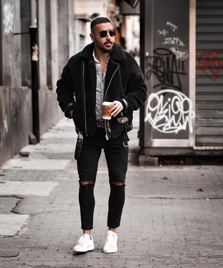How to wear: black shearling jacket, white and black gingham long sleeve shirt, black ripped skinny jeans, white leather low top sneakers
