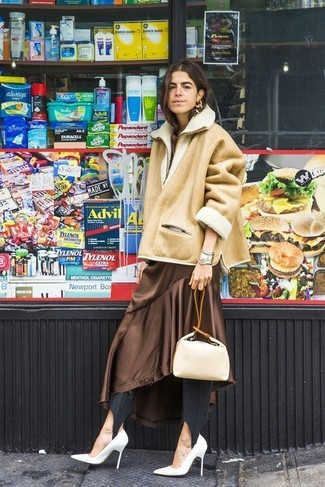 How to wear: tan shearling jacket, brown silk midi dress, black leggings, white leather pumps