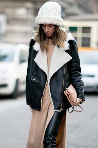 Wear a monochrome shearling jacket and black leather slim trousers for a standout ensemble.