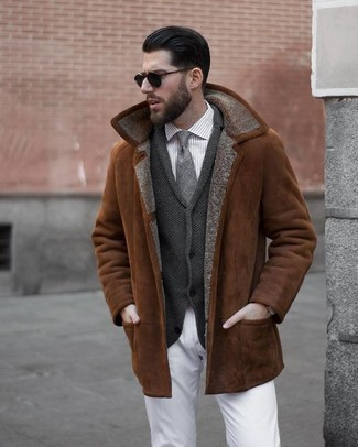 How to wear: tobacco shearling jacket, charcoal shawl cardigan, grey vertical striped dress shirt, white chinos