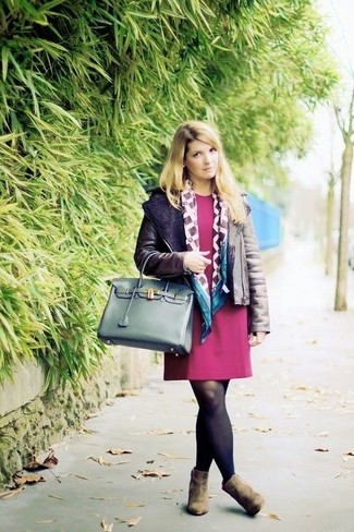 How to wear: dark brown shearling jacket, burgundy shift dress, olive suede ankle boots, dark green leather tote bag