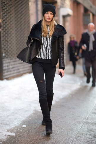 This combo of a black shearling jacket and black destroyed skinny jeans is a safe bet for an effortlessly cool look. This outfit is complemented perfectly with black suede knee high boots.