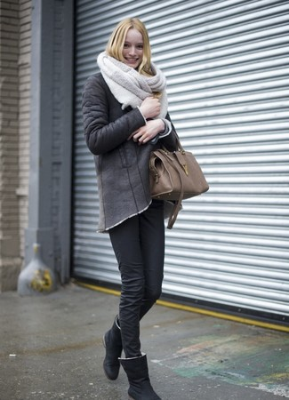 How to wear: charcoal shearling jacket, black skinny jeans, black uggs, brown leather tote bag