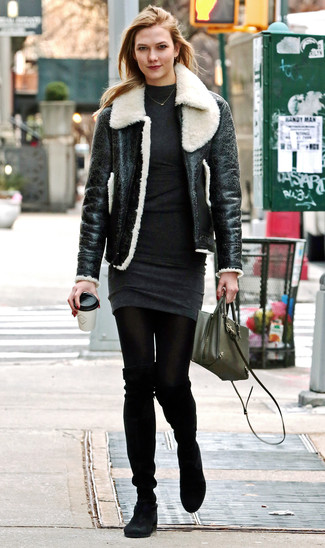 How to wear: black and white shearling jacket, charcoal sweater dress, black suede over the knee boots, olive leather crossbody bag