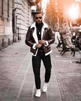 How to wear: dark brown shearling jacket, black turtleneck, black chinos, white leather low top sneakers