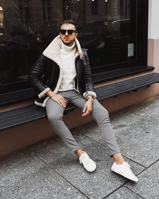 How to wear: black and white shearling jacket, white knit turtleneck, black houndstooth chinos, white low top sneakers