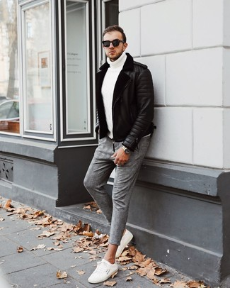 How to wear: black shearling jacket, white knit turtleneck, grey plaid chinos, white low top sneakers