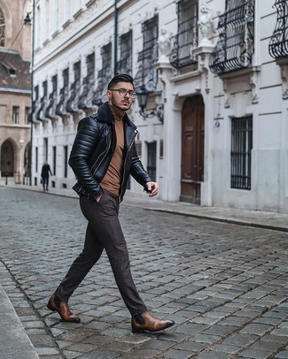 Brown Leather Chelsea Boots Outfits For Men: This off-duty pairing of a black shearling jacket and dark brown check chinos is extremely easy to put together without a second thought, helping you look seriously stylish and prepared for anything without spending a ton of time digging through your wardrobe. If you wish to immediately up the ante of this ensemble with footwear, why not complete this outfit with a pair of brown leather chelsea boots?