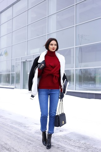 Women's Black and White Shearling Jacket, Burgundy Turtleneck, Blue Jeans, Black Leather Lace-up Ankle Boots