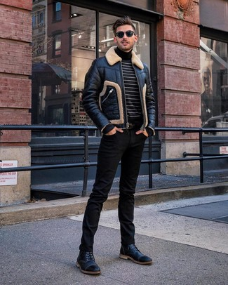 How to wear: black shearling jacket, black and white horizontal striped turtleneck, black jeans, black leather casual boots