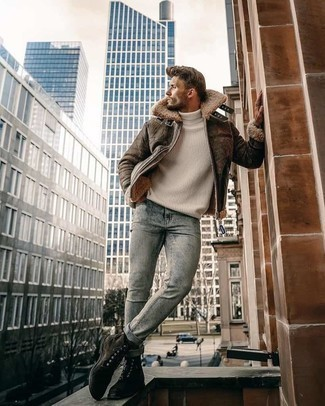 White Wool Turtleneck Outfits For Men: Fashionable and functional, this casual combination of a white wool turtleneck and light blue acid wash jeans provides variety. Add a pair of dark brown suede casual boots to this ensemble to easily boost the fashion factor of this ensemble.