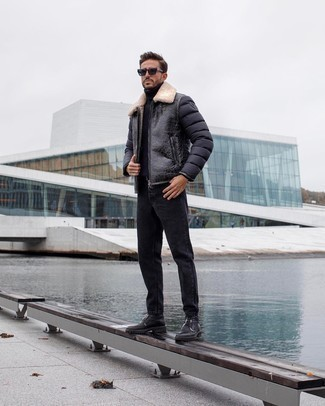 Charcoal Jeans Winter Outfits For Men: This laid-back combination of a black shearling jacket and charcoal jeans can only be described as ridiculously sharp. Put a different spin on an otherwise utilitarian getup by rocking black leather casual boots. With an ensemble like this in your winter collection, you're guaranteed to keep warm and look stylish despite the cold weather.