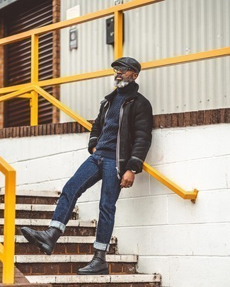 Pants Outfits For Men: A black shearling jacket and pants are bona fide menswear must-haves if you're putting together an off-duty wardrobe that matches up to the highest sartorial standards. Puzzled as to how to complete your outfit? Round off with a pair of black leather casual boots to polish it off.