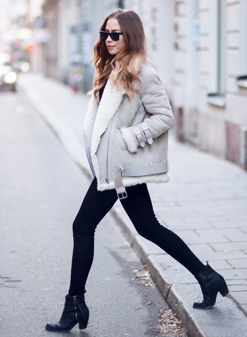 How to Wear a Grey Shearling Coat (6 looks) | Women's Fashion