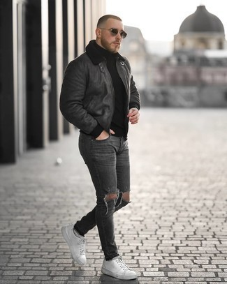 Charcoal Ripped Skinny Jeans Outfits For Men: This combo of a charcoal shearling jacket and charcoal ripped skinny jeans is indisputable proof that a safe casual ensemble can still look really interesting. To bring a bit of depth to your look, complement this ensemble with white leather low top sneakers.