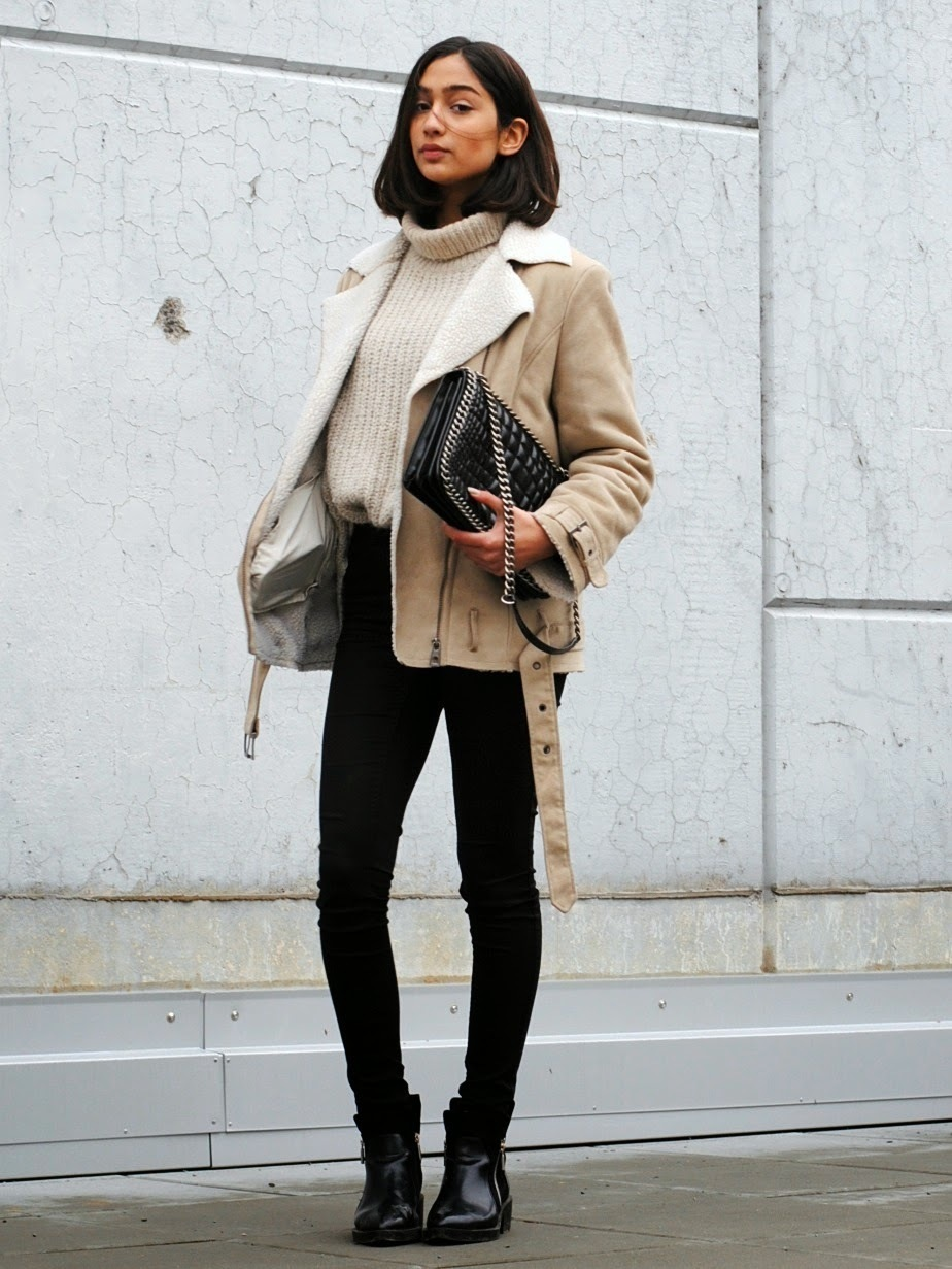 Women's Beige Shearling Jacket, Beige Knit Turtleneck, Black ...
