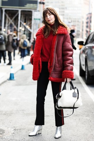 How to wear: red shearling jacket, red turtleneck, black vertical striped skinny pants, silver leather ankle boots