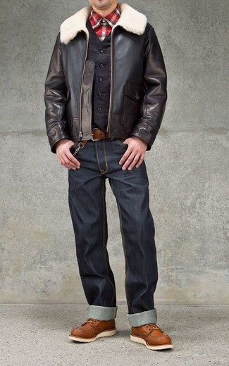 A John Varvatos Collection Shearling Moto Jacket and charcoal jeans are absolute staples if you're planning a casual wardrobe that holds to the highest fashion standards. Brown leather work boots are the right shoes here to get you noticed. Embracing the winter season will be so easy with such ensembles as your fashion inspiration.