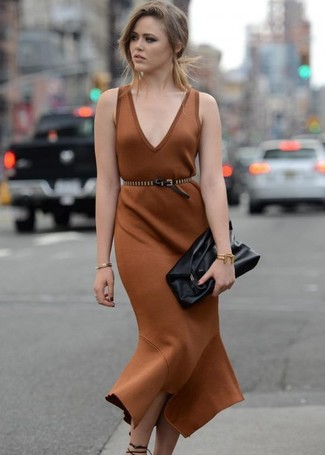 How to wear: brown sheath dress, black leather heeled sandals, black leather clutch, black studded leather waist belt
