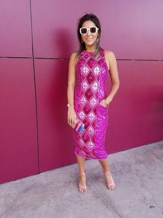 How to wear: hot pink embellished sheath dress, pink leather heeled sandals, multi colored vertical striped clutch, white sunglasses