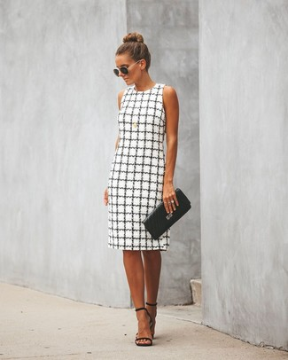 How to wear: white and black check sheath dress, black leather heeled sandals, black quilted leather clutch, black and gold sunglasses