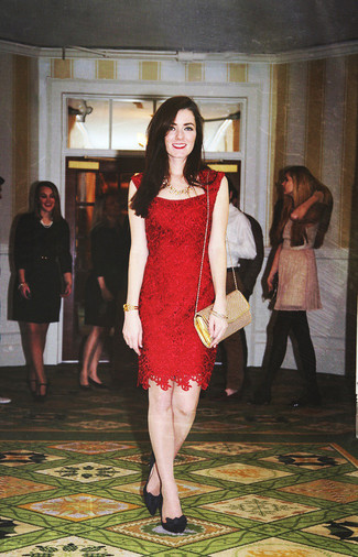 Rock a red lace sheath dress with a gold necklace and you'll be the picture of elegance. Consider black suede pumps as the glue that will bring your outfit together. We're loving how perfect this one is for in-between weather.