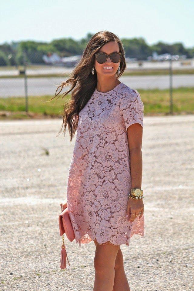 144dabe884 Women s Pink Lace Shift Dress