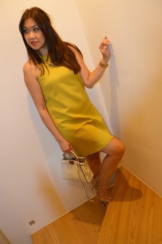 How to wear: mustard shift dress, beige suede heeled sandals, beige leather handbag, gold watch