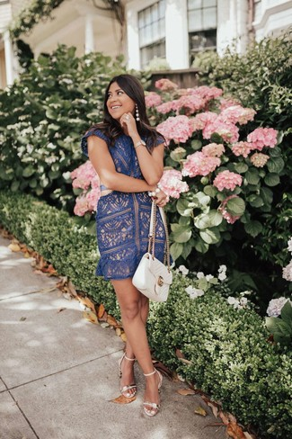 How to wear: navy lace shift dress, gold leather heeled sandals, white quilted leather satchel bag, white beaded bracelet