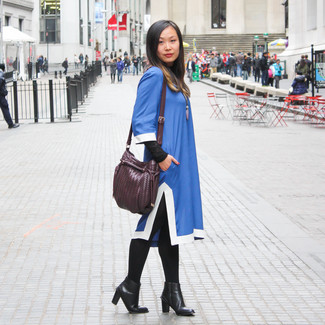 How to Wear a Dark Purple Leather Crossbody Bag: A blue shift dress and a dark purple leather crossbody bag are the kind of a tested off-duty combination that you so desperately need when you have no extra time. Black leather ankle boots will immediately polish up even your most comfortable clothes.