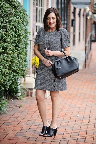 How to Wear Black Leather Mules: Dress in a grey tweed shift dress and you'll create a proper and sophisticated ensemble. Black leather mules look stunning here.
