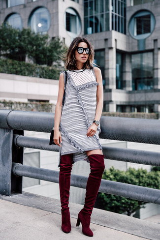 How to wear: grey tweed shift dress, burgundy velvet over the knee boots, black leather crossbody bag, black sunglasses