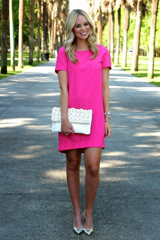How To Wear Hot Pink Shift Dress Silver Leather Pumps White Clutch