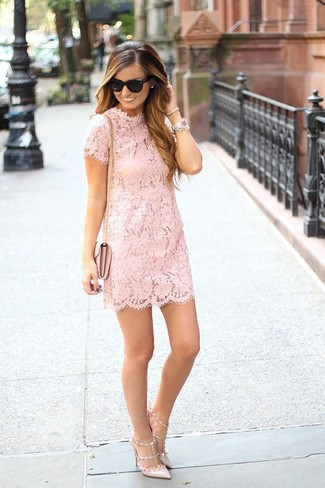 How to wear: pink lace shift dress, beige leather pumps, pink leather crossbody bag, black sunglasses