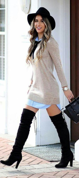 How to Wear a Beige Sweater Dress: This casual combo of a beige sweater dress and a light blue shift dress is capable of taking on different forms according to the way you style it. Black suede over the knee boots tie the getup together.