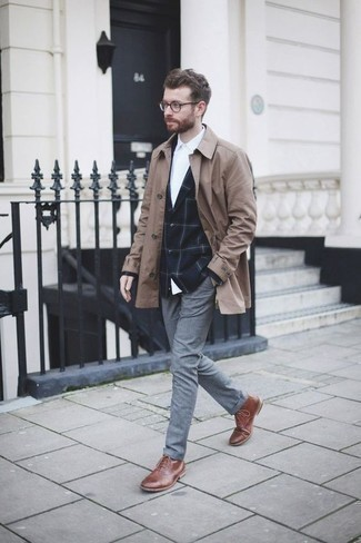 How to Wear a Navy Check Blazer For Men: This combo of a navy check blazer and grey chinos is a winning option when you need to look casually sophisticated in a flash. If not sure as to the footwear, add brown leather casual boots to the mix.