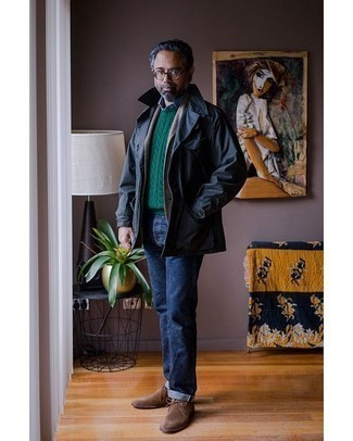 Jeans Outfits For Men: For a casually stylish getup, go for a navy shirt jacket and jeans — these two items fit really nice together. All you need now is a cool pair of brown suede desert boots.