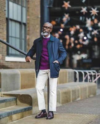 Pants Outfits For Men: Demonstrate your sophisticated self by opting for a navy nylon shirt jacket and pants. Feeling experimental? Switch up your outfit by sporting a pair of burgundy leather tassel loafers.