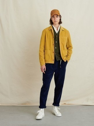White Canvas High Top Sneakers Outfits For Men: A mustard corduroy shirt jacket and navy corduroy chinos are an easy way to infuse some manly refinement into your daily rotation. To bring out the fun side of you, complement this look with a pair of white canvas high top sneakers.