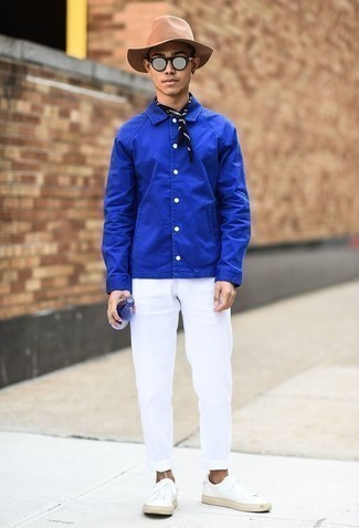How to Wear a Black and White Bandana For Men: Opt for a blue shirt jacket and a black and white bandana to get a bold casual and stylish getup. Feeling creative today? Switch things up by finishing off with a pair of white leather low top sneakers.