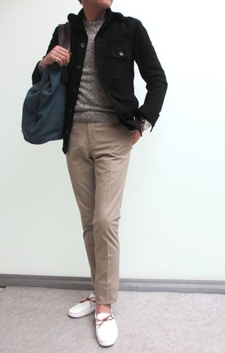 How to wear: black shirt jacket, grey crew-neck sweater, khaki chinos, white leather boat shoes