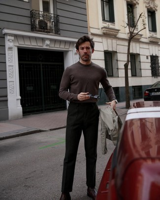 Crew-neck Sweater Outfits For Men: If the situation permits casual style, reach for a crew-neck sweater and black chinos. Amp up your outfit by wearing a pair of burgundy leather chelsea boots.