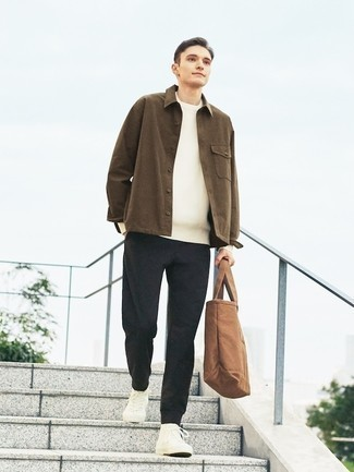 Brown Shirt Jacket Outfits For Men: For a tested smart option, you can never go wrong with this combo of a brown shirt jacket and black chinos. Complement your outfit with a pair of white canvas high top sneakers to infuse an air of stylish casualness into this outfit.