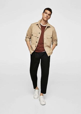 How to wear: tan shirt jacket, brown crew-neck sweater, white crew-neck t-shirt, black chinos