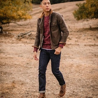 Brown Suede Casual Boots Outfits For Men: Try pairing a brown shirt jacket with navy jeans to put together a neat and relaxed look. A pair of brown suede casual boots will be the perfect addition to your outfit.