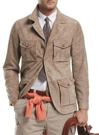 How to wear: tan suede shirt jacket, orange crew-neck sweater, white dress shirt, beige cargo pants