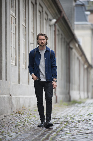 Black Leather Derby Shoes Outfits: Consider wearing a navy shirt jacket and black jeans for a casually cool and stylish look. If you need to effortlessly bump up this ensemble with footwear, why not introduce black leather derby shoes to the mix?