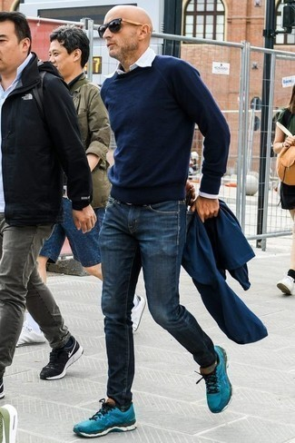 How to Wear Navy Jeans For Men: Pair a navy shirt jacket with navy jeans for a simple outfit that's also pulled together nicely. You could perhaps get a little creative on the shoe front and complement this outfit with a pair of aquamarine athletic shoes.
